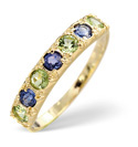 9K Yellow Gold Peridot, Kanchan Sapphire Ring From Catalina Diamonds Y1530