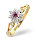 9K Yellow Gold 0.02Ct Diamond, Pink Sapphire Ring From Catalina Diamonds Y2098