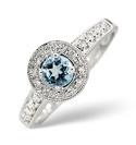 9K White Gold 0.12Ct Diamond, Blue Topaz Ring From Catalina Diamonds C2628
