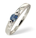 9K White Gold 0.02Ct Diamond, Sapphire Ring From Catalina Diamonds C1940