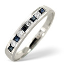 9K White Gold 0.09Ct Diamond, Sapphire Ring From Catalina Diamonds C1533