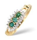 9K Yellow Gold 0.02Ct Diamond, Emerald Ring From Catalina Diamonds C3169
