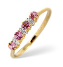 9K Yellow Gold 0.03Ct Diamond, Pink Sapphire Ring From Catalina Diamonds C3171