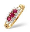 9K Yellow Gold 0.02Ct Diamond, Ruby Ring From Catalina Diamonds C3168