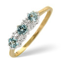 9K Yellow Gold 0.01Ct Diamond, Blue Topaz Ring From Catalina Diamonds Y1203