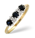 9K Yellow Gold 0.01Ct Diamond, Sapphire Ring From Catalina Diamonds Y1031