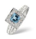 9K White Gold 0.13Ct Diamond, Blue Topaz Ring From Catalina Diamonds C2624
