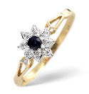 9K Yellow Gold 0.02Ct Diamond, Sapphire Ring From Catalina Diamonds Y1001