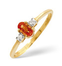 9K Yellow Gold 0.01Ct Diamond, Yellow Sapphire Ring From Catalina Diamonds C2772