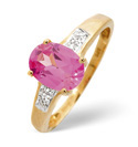 9K Yellow Gold 0.01Ct Diamond, Created Pink Sapphire Ring From Catalina Diamonds C3045