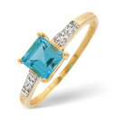 9K Yellow Gold 0.013Ct Diamond, Blue Topaz Ring From Catalina Diamonds C3024