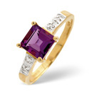 9K Yellow Gold 0.013Ct Diamond, Amethyst Ring From Catalina Diamonds C3030