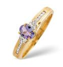 9K Yellow Gold 0.1Ct Diamond, Tanzanite Ring From Catalina Diamonds C2792