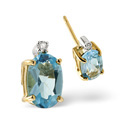 9K Yellow Gold 0.02Ct Diamond, Blue Topaz Earrings From Catalina Diamonds F2032