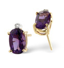 9K Yellow Gold 0.02Ct Diamond, Amethyst Earrings From Catalina Diamonds F2031