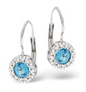 9K White Gold 0.1Ct Diamond, Blue Topaz Earrings From Catalina Diamonds F1877