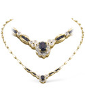 9K Yellow Gold 0.33Ct Diamond, Sapphire Necklace From Catalina Diamonds B1088