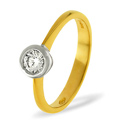 0.5CT PK Diamond Rub Over Set Solitaire Ring 18K Yellow Gold from Catalina Diamonds SR07-50PKY