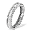 1CT H/SI Diamond Baguettes and Rounds Sides Full Eternity Ring 18K White Gold from Catalina Diamonds FE06-100HSW