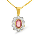 0.1CT Diamond, Pink Sapphire Pendant 9K Yellow Gold from Catalina Diamonds Z1441