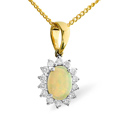 0.21CT Diamond, Opal Pendant 9K Yellow Gold from Catalina Diamonds E2693