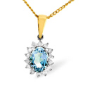0.21CT Diamond, Blue Topaz Pendant 9K Yellow Gold from Catalina Diamonds E2694