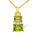0.02CT Diamond, Peridot Pendant 9K Yellow Gold from Catalina Diamonds E2682