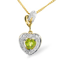 0.05CT Diamond, Peridot Pendant 9K Yellow Gold from Catalina Diamonds E2685