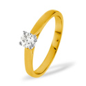 0.5CT PK Diamond 4 Claws Princess Solitaire Ring 18K Yellow Gold from Catalina Diamonds SR04-50PKY
