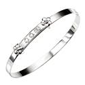 D For Diamond Silver Adjustable Flower Bangle For Girls B3303