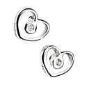 D For Diamond Silver Heart Earrings For Girls E3506