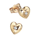 D For Diamond 9Ct Yellow Gold Heart Earrings For Boys Ge101
