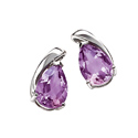 9K White Gold Amethyst Earrings GE586M from Elements Gold