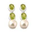 Sterling silver fresh pearl and crystal earrings by Kaiomhi