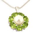 Sterling silver fresh pearl and crystal pendant by Kaiomhi