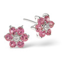 9K White Gold Diamond, Pink Sapphire Earrings From Catalina Diamonds F1924