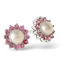 9K White Gold Pearl, Pink Sapphire Earrings From Catalina Diamonds F1919