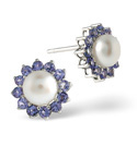 9K White Gold Pearl, Tanzanite Earrings From Catalina Diamonds F1920